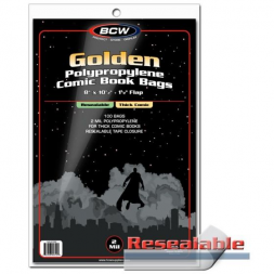 RESEALABLE GOLDEN COMIC BAGS - THICK